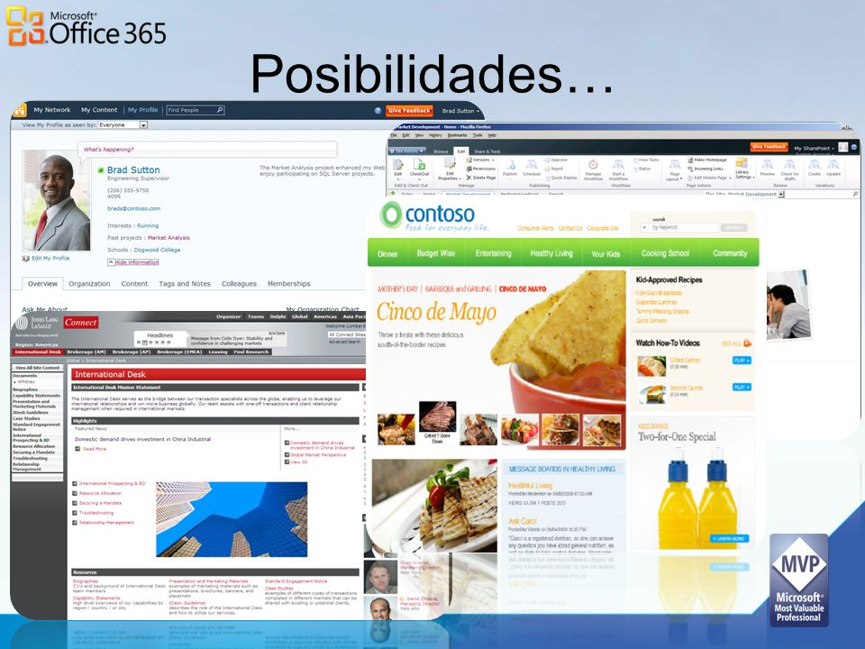 Posibilidades… My Sites: Manage and share personal documents and insights with colleagues. Solve document version control problems.