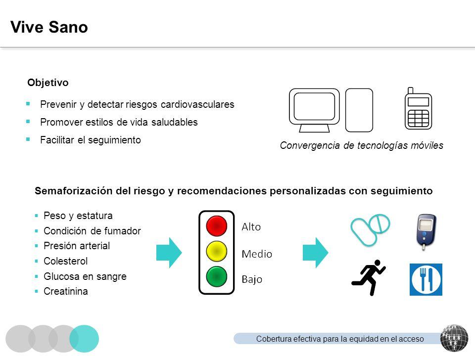 Vive Sano Objetivo. Prevenir y detectar riesgos cardiovasculares. Promover estilos de vida saludables.