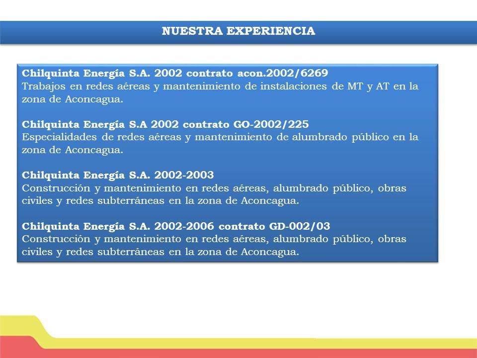 NUESTRA EXPERIENCIA Chilquinta Energía S.A. 2002 contrato acon.2002/6269.