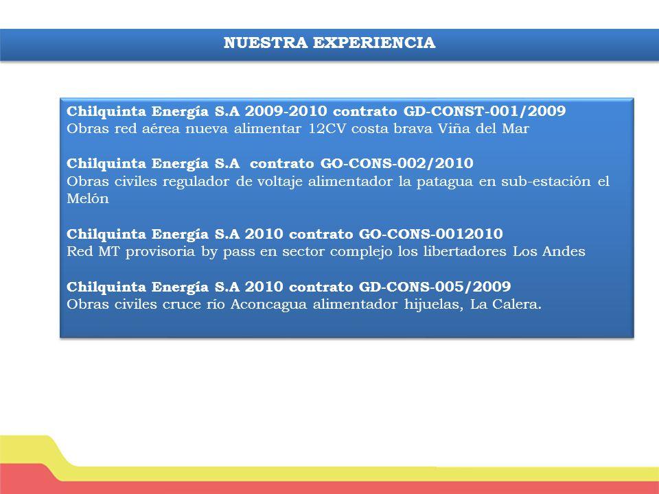 NUESTRA EXPERIENCIA Chilquinta Energía S.A 2009-2010 contrato GD-CONST-001/2009. Obras red aérea nueva alimentar 12CV costa brava Viña del Mar.