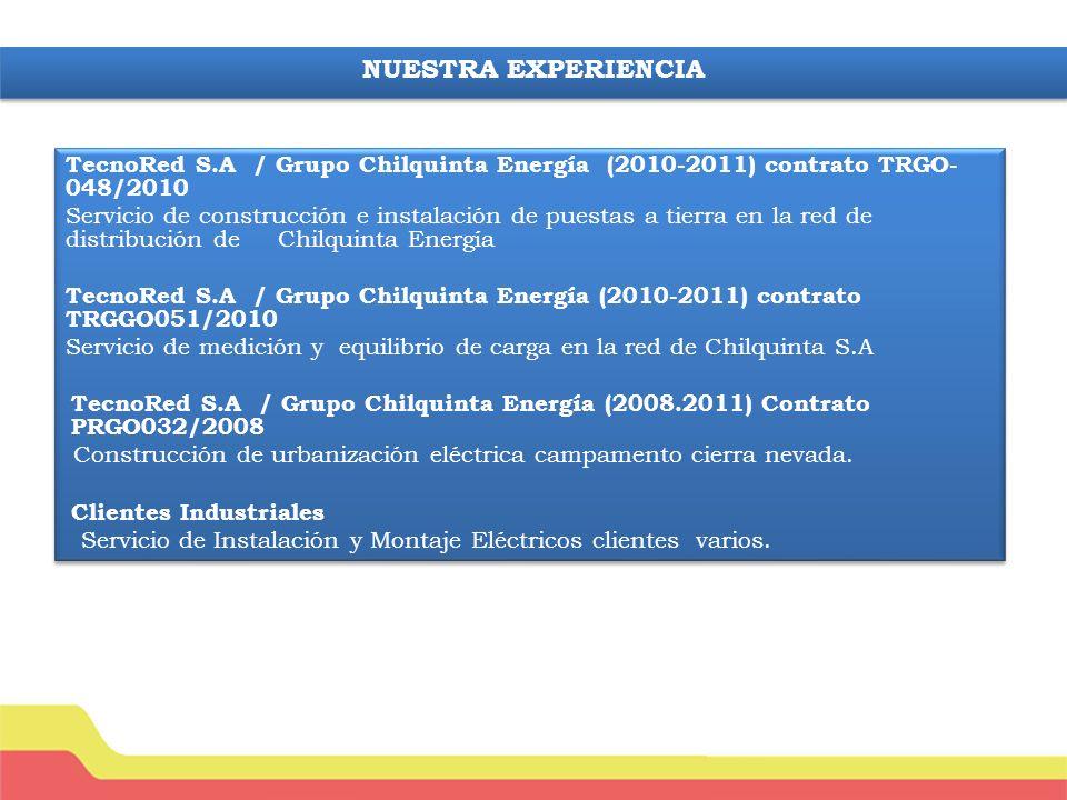 NUESTRA EXPERIENCIA TecnoRed S.A / Grupo Chilquinta Energía (2010-2011) contrato TRGO-048/2010.
