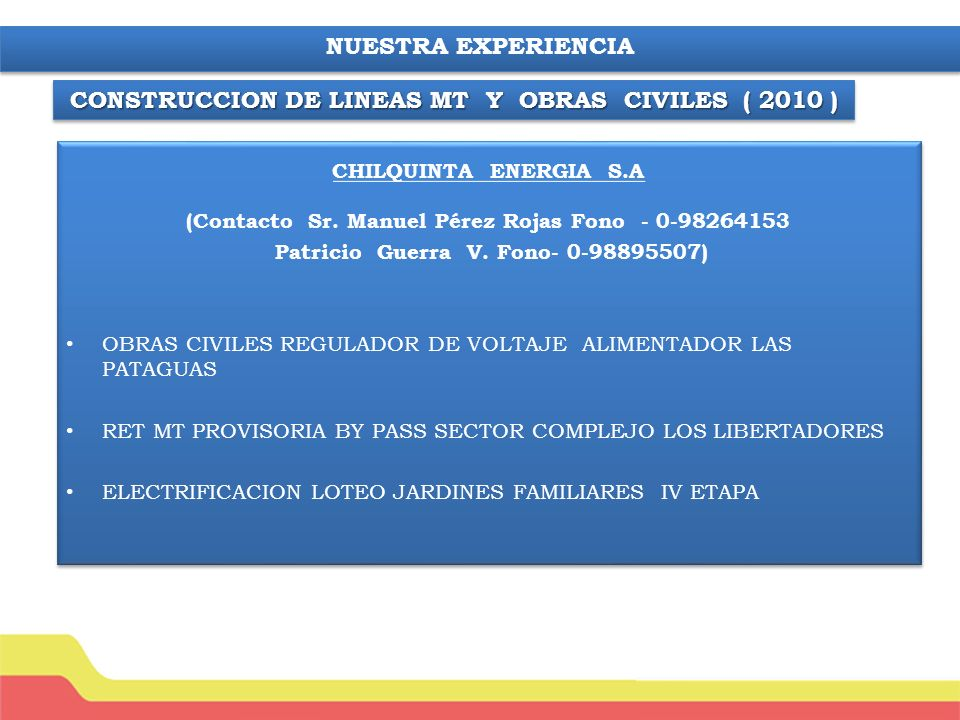 CONSTRUCCION DE LINEAS MT Y OBRAS CIVILES ( 2010 )