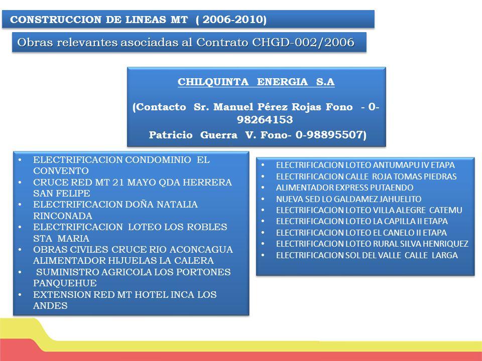 Obras relevantes asociadas al Contrato CHGD-002/2006