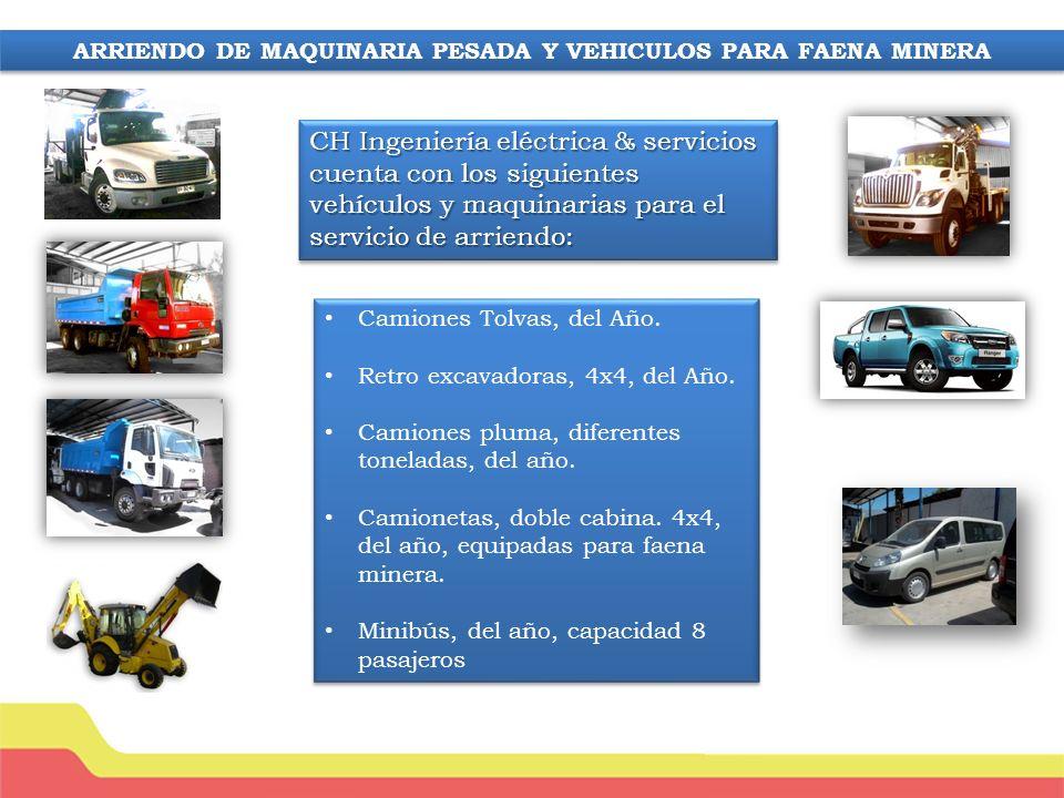 ARRIENDO DE MAQUINARIA PESADA Y VEHICULOS PARA FAENA MINERA