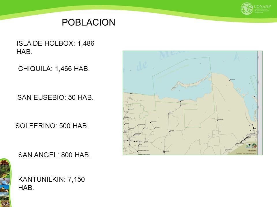 POBLACION ISLA DE HOLBOX: 1,486 HAB. CHIQUILA: 1,466 HAB.