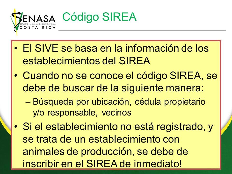 Código SIREA El SIVE se basa en la información de los establecimientos del SIREA.