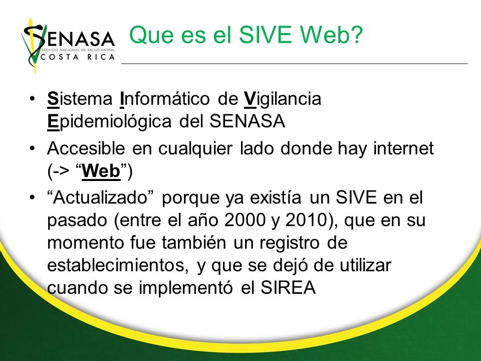 Que es el SIVE Web Sistema Informático de Vigilancia Epidemiológica del SENASA. Accesible en cualquier lado donde hay internet (-> Web )
