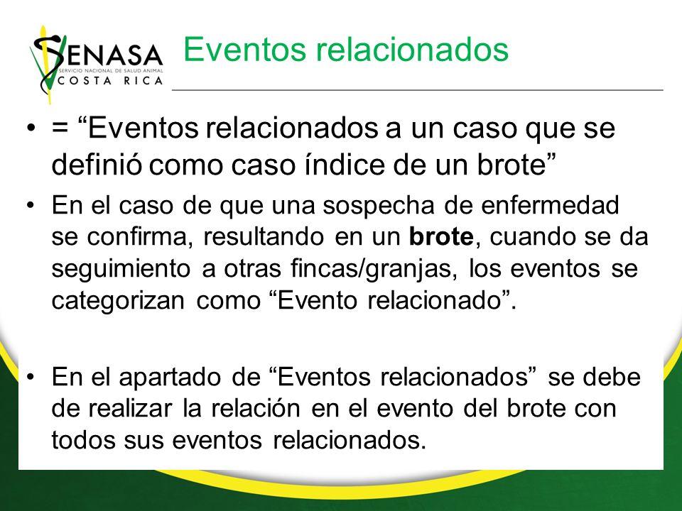 Eventos relacionados = Eventos relacionados a un caso que se definió como caso índice de un brote