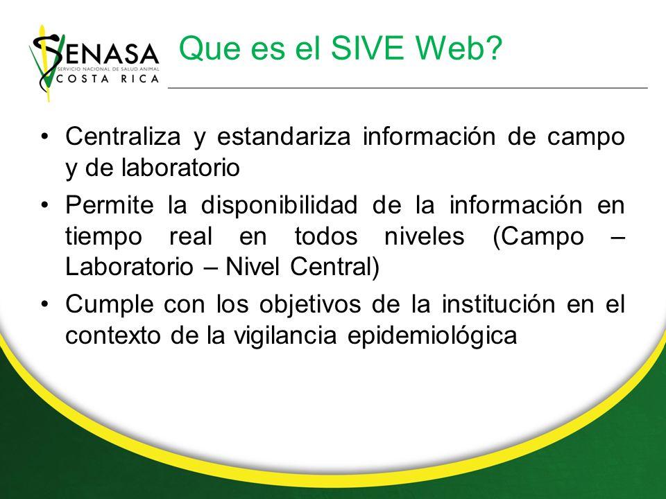 Que es el SIVE Web Centraliza y estandariza información de campo y de laboratorio.