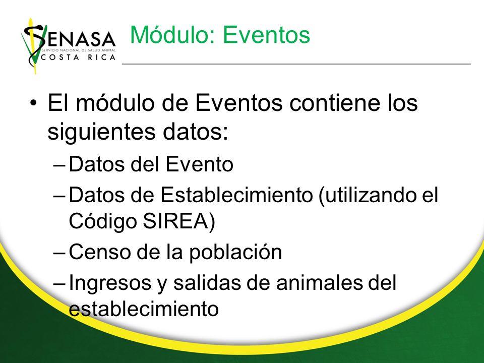 El módulo de Eventos contiene los siguientes datos:
