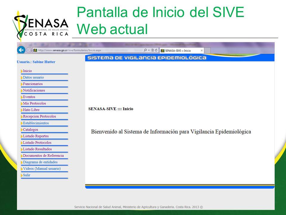 Pantalla de Inicio del SIVE Web actual