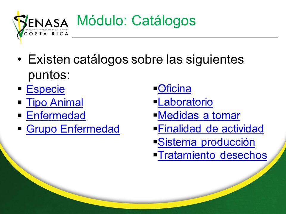 Módulo: Catálogos Existen catálogos sobre las siguientes puntos: