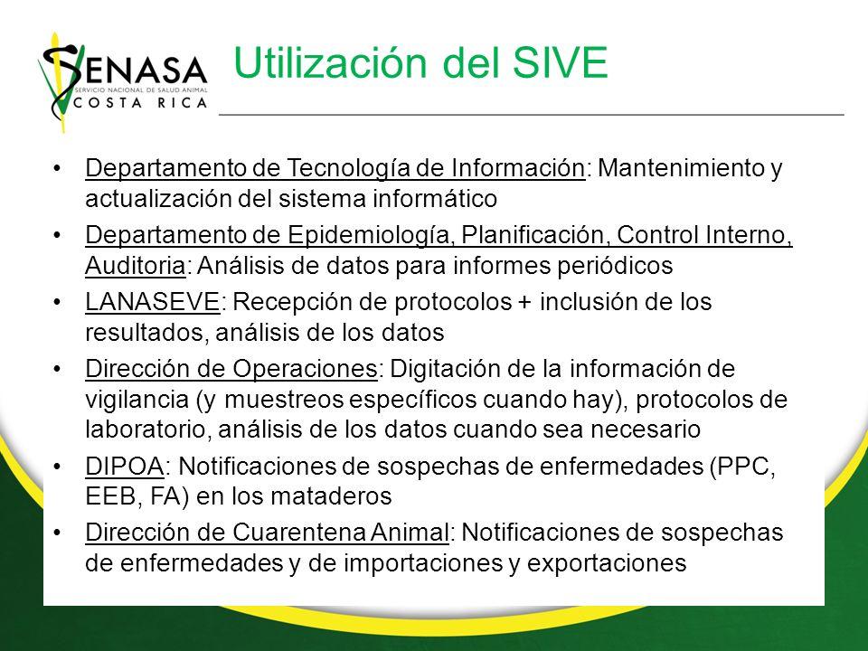 Utilización del SIVE Departamento de Tecnología de Información: Mantenimiento y actualización del sistema informático.