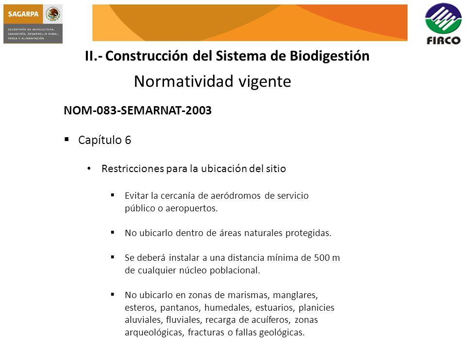 Normatividad vigente II.- Construcción del Sistema de Biodigestión