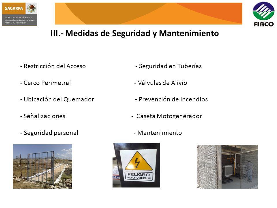 III.- Medidas de Seguridad y Mantenimiento