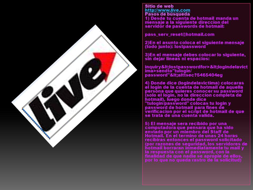 Sitio de web: http://www.live.com. Pasos de búsqueda.