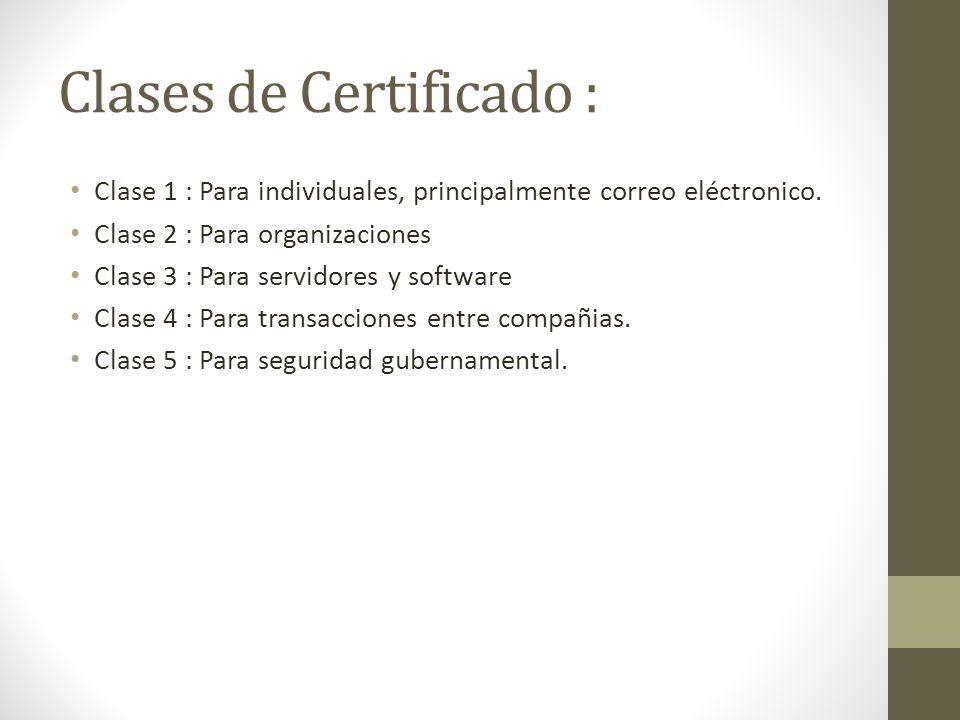Clases de Certificado :