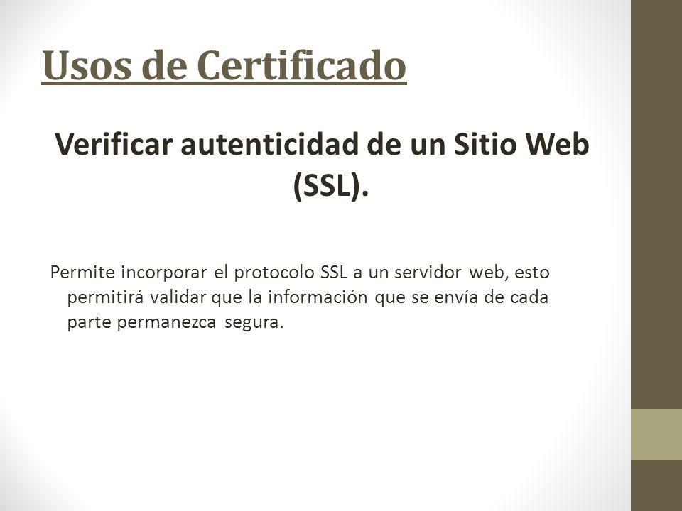 Verificar autenticidad de un Sitio Web (SSL).