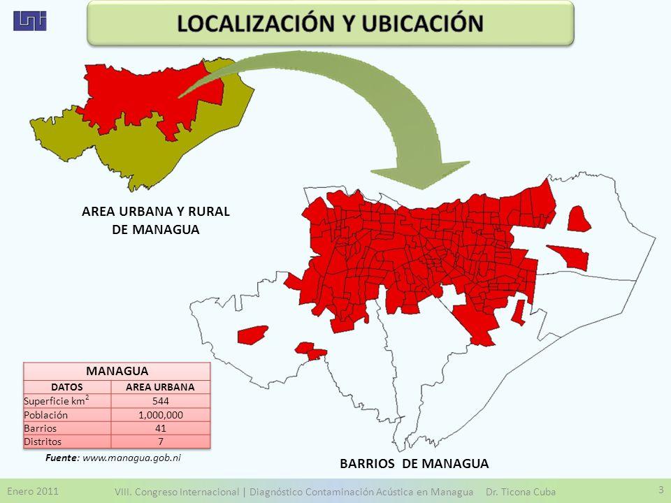 LOCALIZACIÓN Y UBICACIÓN AREA URBANA Y RURAL DE MANAGUA