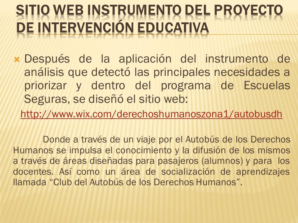 SITIO WEB INSTRUMENTO DEL PROYECTO DE INTERVENCIÓN EDUCATIVA