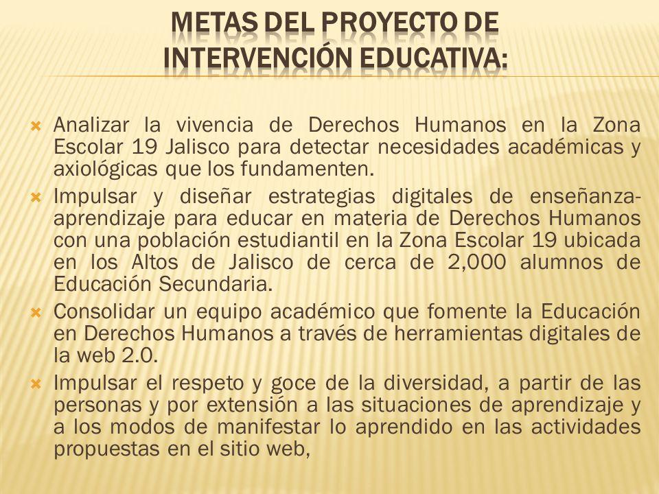 METAS DEL PROYECTO DE INTERVENCIÓN EDUCATIVA: