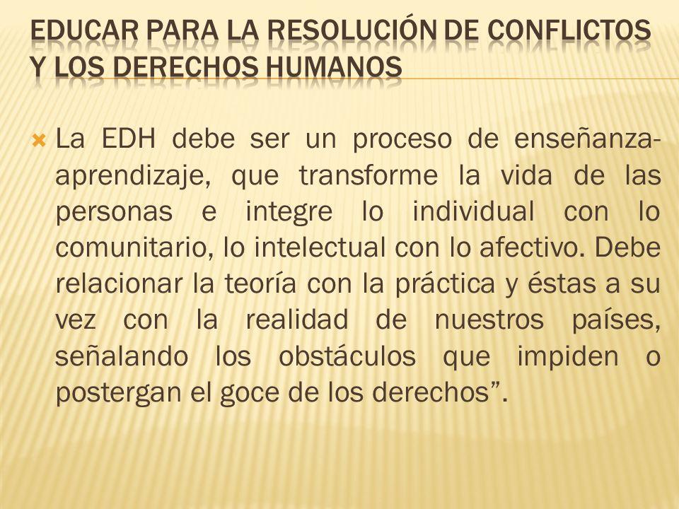 Educar para la resolución de conflictos y los Derechos Humanos