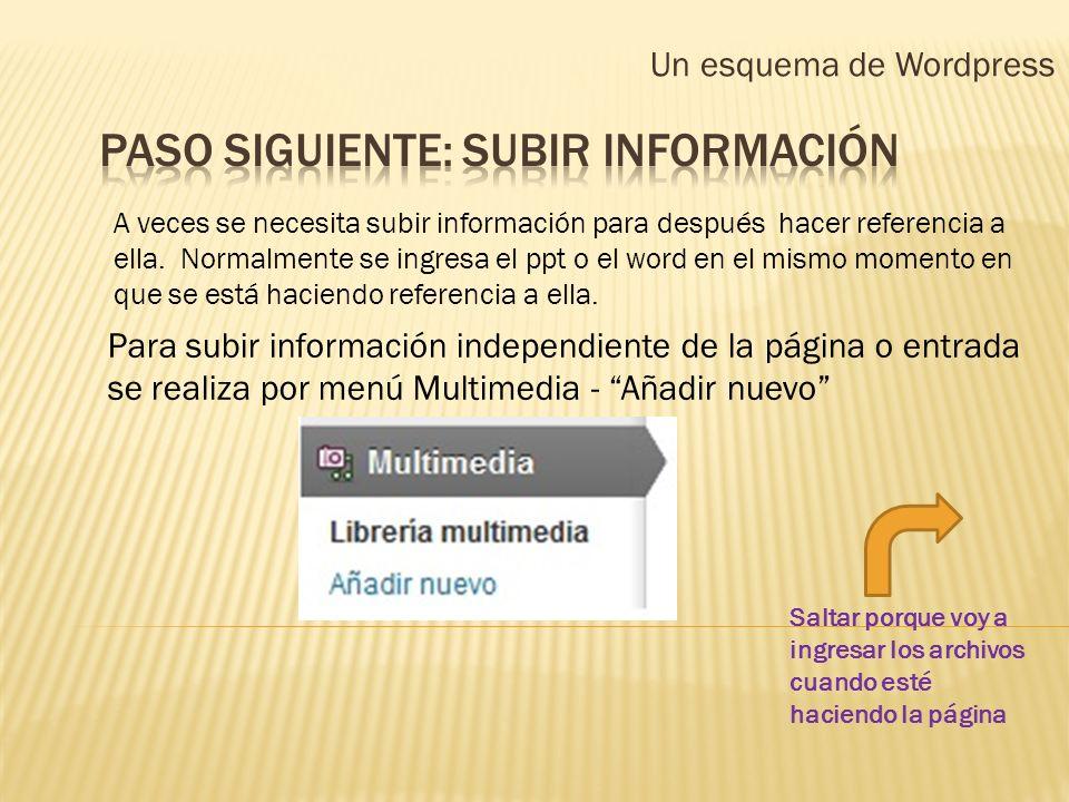 Paso siguiente: Subir información