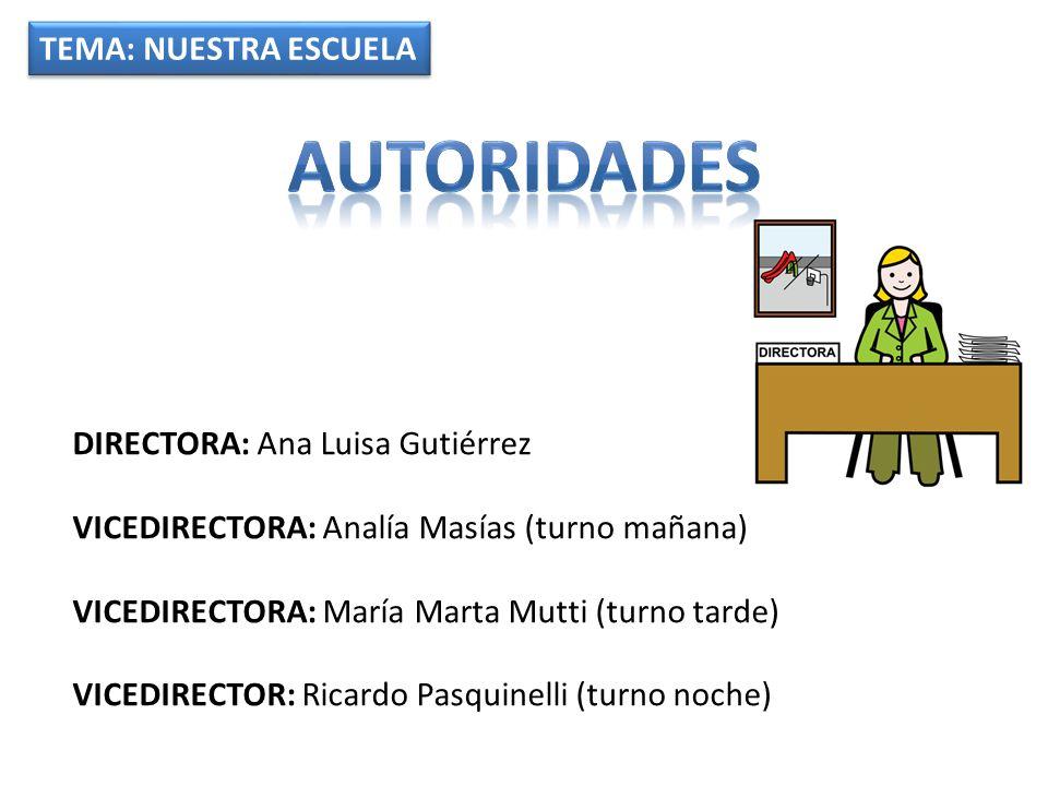autoridades TEMA: NUESTRA ESCUELA DIRECTORA: Ana Luisa Gutiérrez