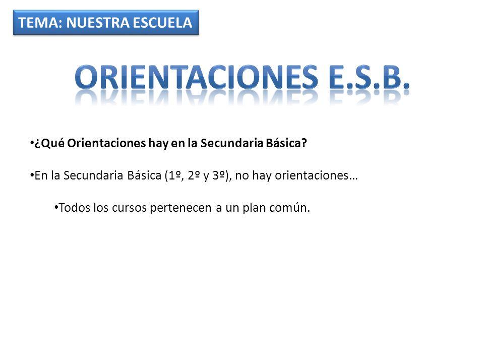 Orientaciones e.s.b. TEMA: NUESTRA ESCUELA