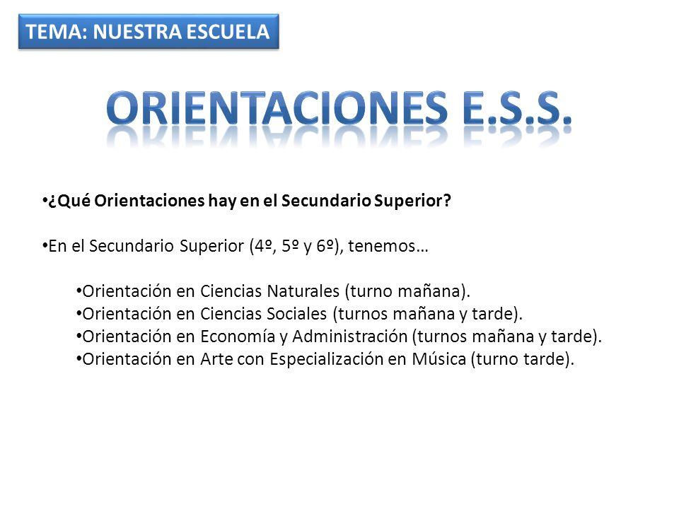 Orientaciones e.s.s. TEMA: NUESTRA ESCUELA
