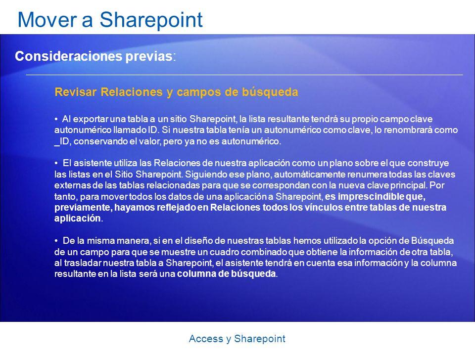 Mover a Sharepoint Consideraciones previas: