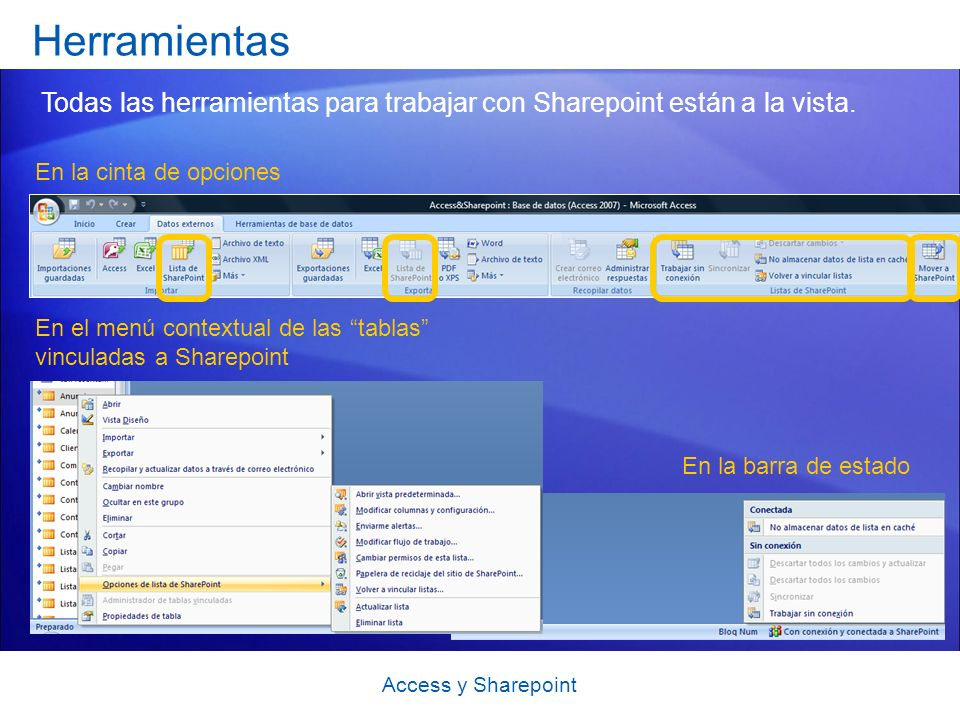 Herramientas Todas las herramientas para trabajar con Sharepoint están a la vista. En la cinta de opciones.