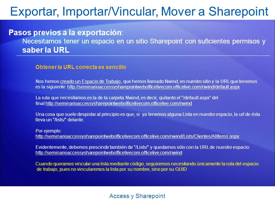 Exportar, Importar/Vincular, Mover a Sharepoint