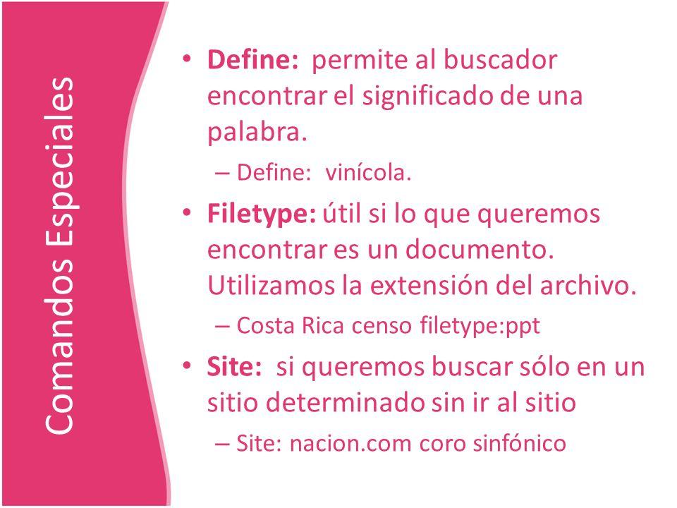 Define: permite al buscador encontrar el significado de una palabra.