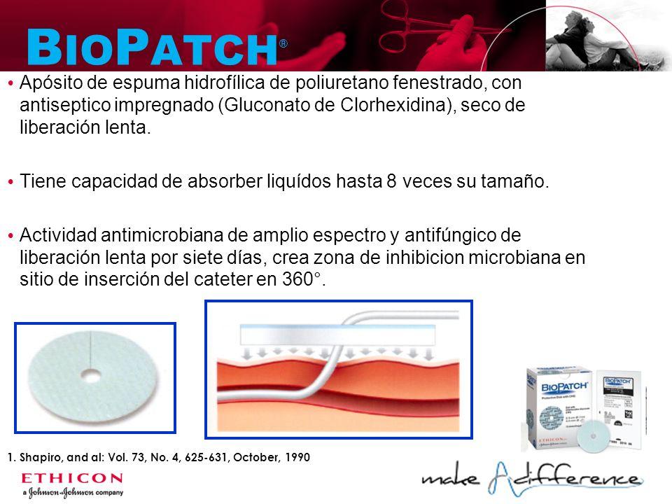 BIOPATCH® Apósito de espuma hidrofílica de poliuretano fenestrado, con antiseptico impregnado (Gluconato de Clorhexidina), seco de liberación lenta.