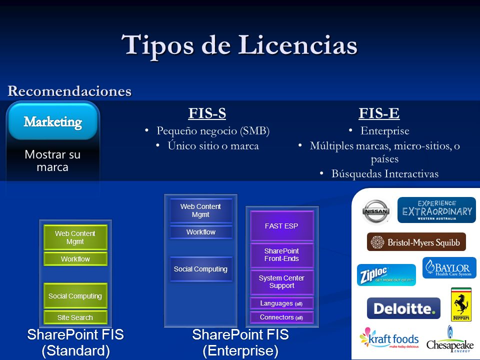 Tipos de Licencias Recomendaciones FIS-S FIS-E Marketing