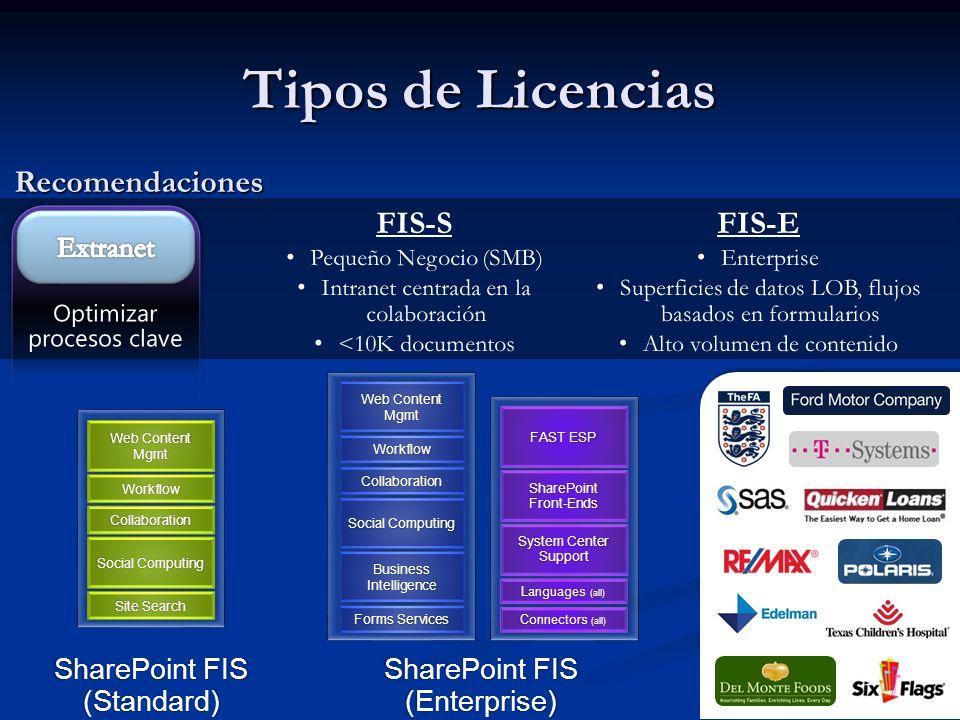 Tipos de Licencias Recomendaciones FIS-S FIS-E Extranet