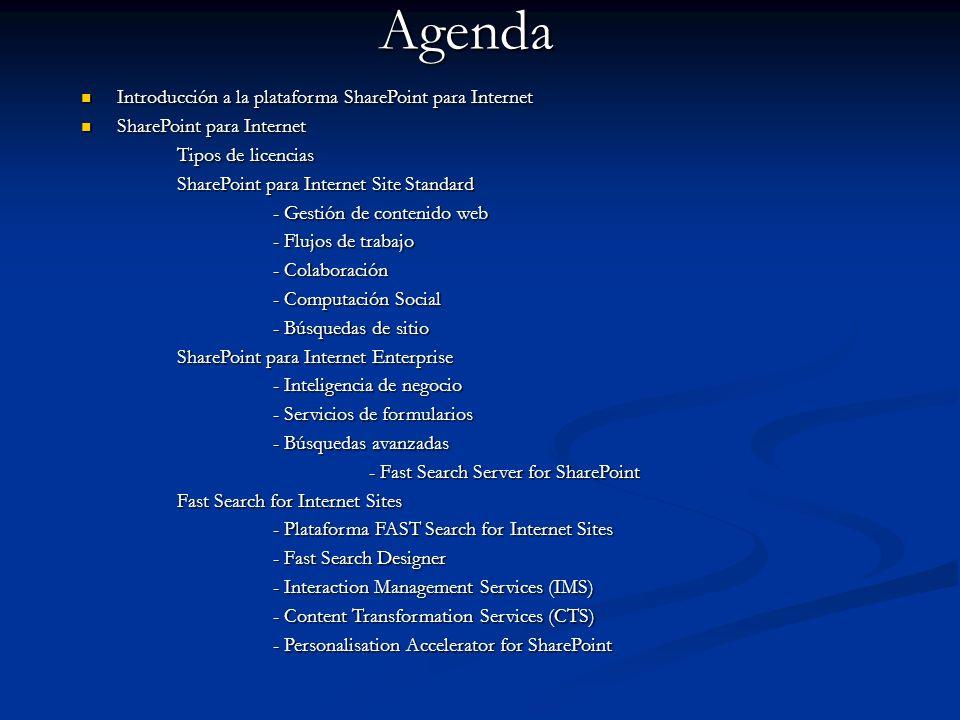 Agenda Introducción a la plataforma SharePoint para Internet