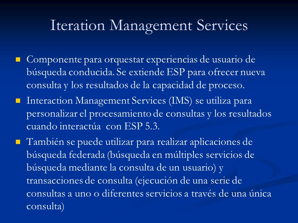 Iteration Management Services