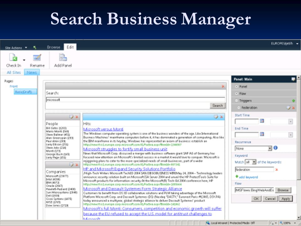 Search Business Manager