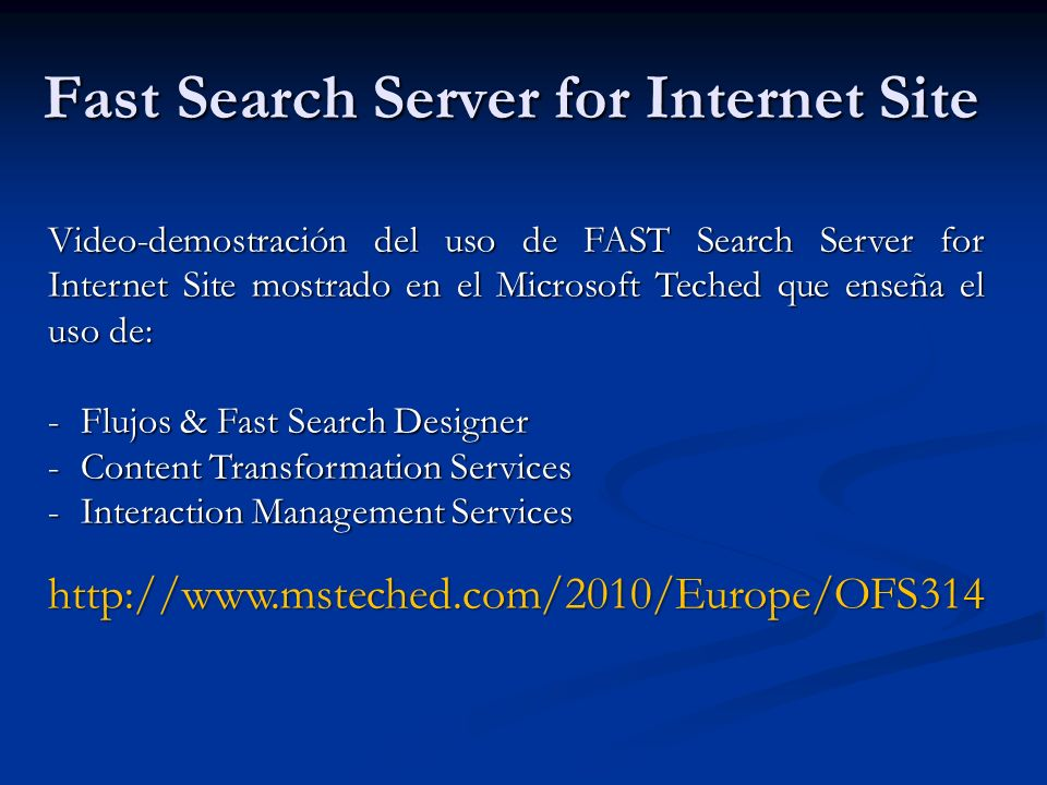 Fast Search Server for Internet Site