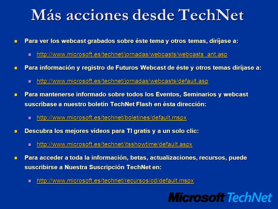 Más acciones desde TechNet