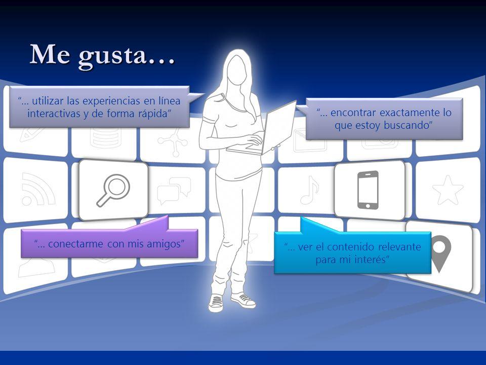 Me gusta… … utilizar las experiencias en línea interactivas y de forma rápida … encontrar exactamente lo que estoy buscando