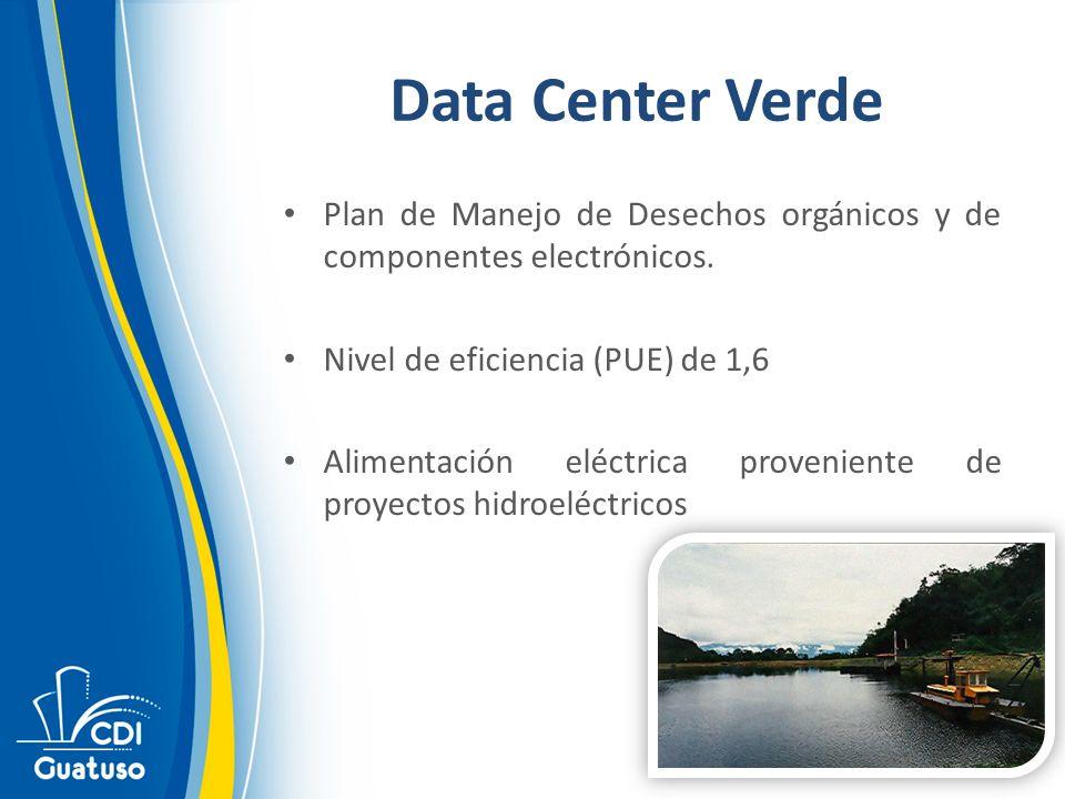 Data Center Verde Plan de Manejo de Desechos orgánicos y de componentes electrónicos. Nivel de eficiencia (PUE) de 1,6.