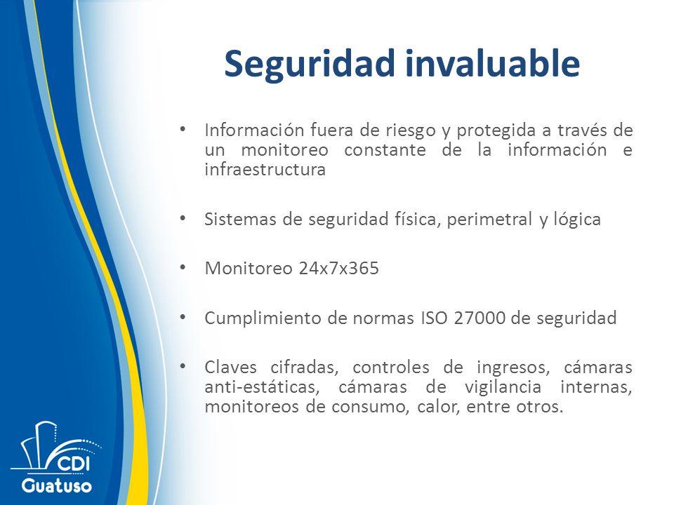 Seguridad invaluable Información fuera de riesgo y protegida a través de un monitoreo constante de la información e infraestructura.