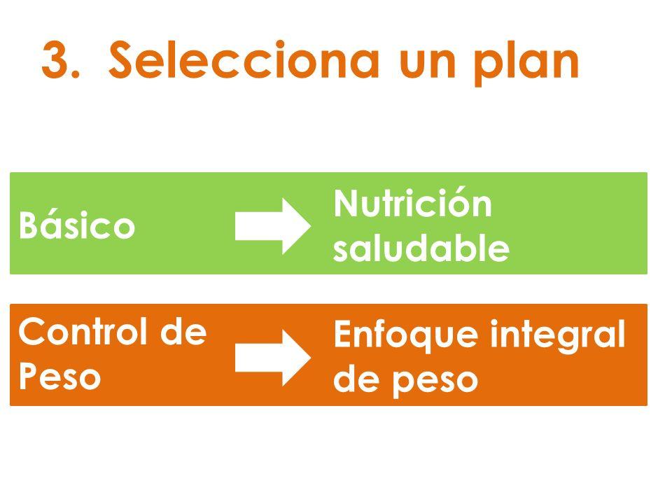 Selecciona un plan Nutrición saludable Básico Control de Peso