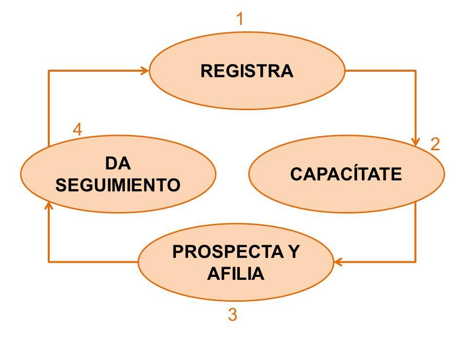 1 REGISTRA 4 2 DA SEGUIMIENTO CAPACÍTATE PROSPECTA Y AFILIA 3