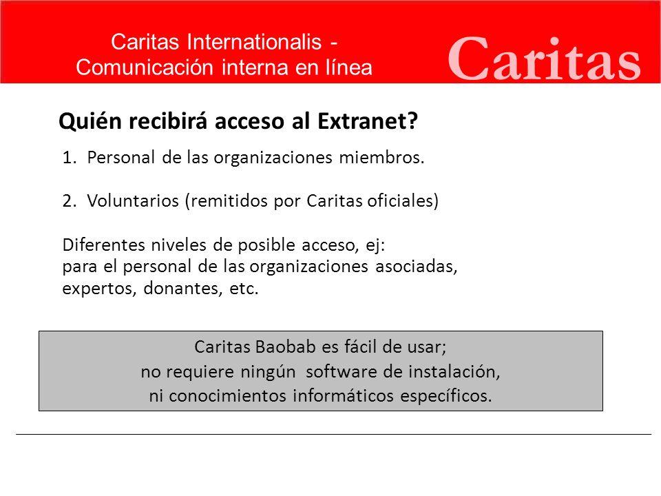 Caritas Quién recibirá acceso al Extranet Caritas Internationalis -