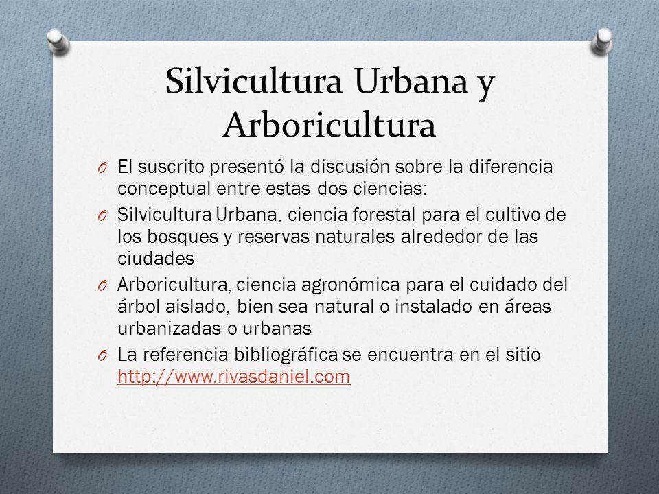 Silvicultura Urbana y Arboricultura