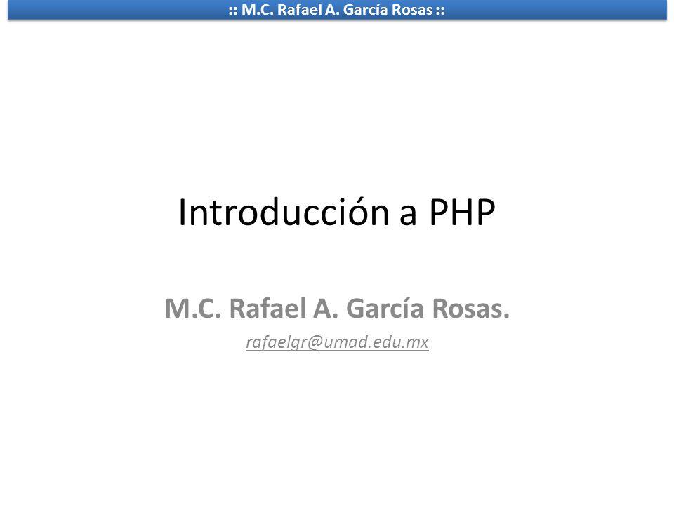 M.C. Rafael A. García Rosas. rafaelgr@umad.edu.mx